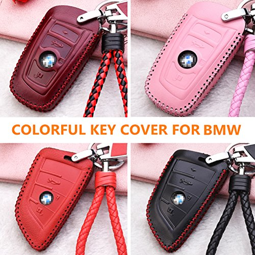 4 Buttons, Black MECHCOS Leather Smart Key Keyless Remote Entry Fob Case Cover with Key Chain Compatible with fit BMW 1 2 5 7 M Series X1 X4 X5 X6 F15 F16 F48
