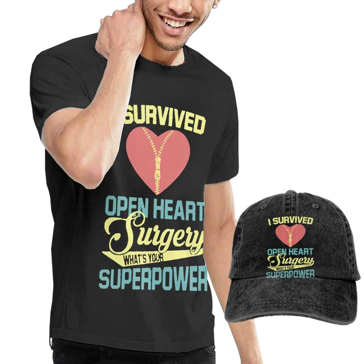 WWTBBJ-B I Survived Open Heart Surgery Adult Mens Sportstyle T Shirts and Outdoor Jean Hat