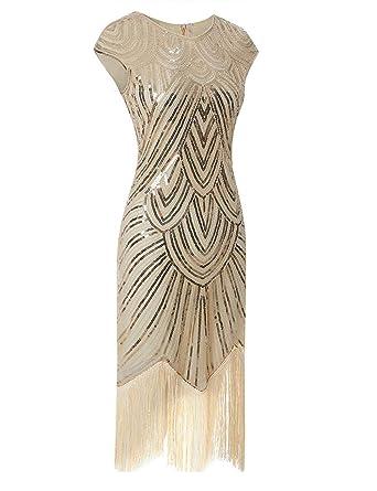 5d8ebf257c0 Vintage 1920s Flapper Great Gatsby Dress O-Neck Cap Sleeve Sequin Fringe  Party Midi Dress Vestidos Verano Party Dress at Amazon Women s Clothing  store