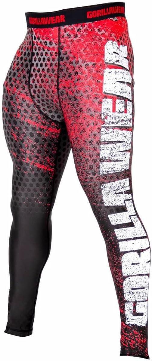 Nero//Rosso, M GORILLA WEAR San Jose Herren Collant Schwarz//Grau Leggings Bodybuilding Strato di Compressione