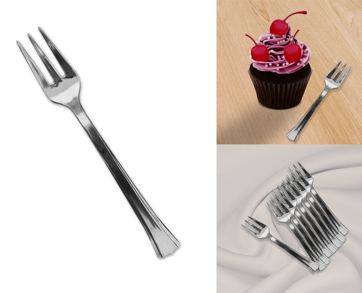 Mini Silver Disposable Dessert And Appetizer Forks Set Of 96, 4.5 Inches
