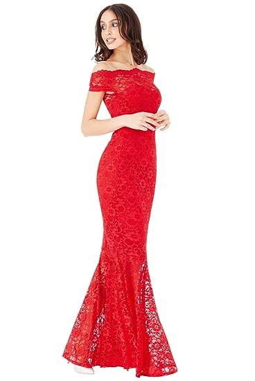 Goddiva Red Lace Bardot Maxi Evening Fishtail Mermaid Formal Party Dress Prom Bridesmaid (12)
