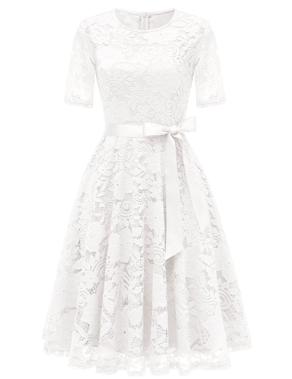 DRESSTELLS Short Bridesmaid Scoop Floral Lace Dress Cocktail Formal Party Dress White L by DRESSTELLS