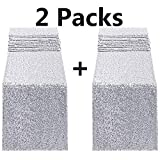 FECEDY 2pcs 12 x 108inch Glitter Silver Sequin Table Runner for Birthday Wedding Engagement Bridal Shower Baby Shower Bachelorette Holiday Celebration Party Decorations (Silver)