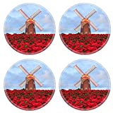 MSD Round Coasters Image ID 24880281 Christmas star red poinesettia garden and wind turbine flower