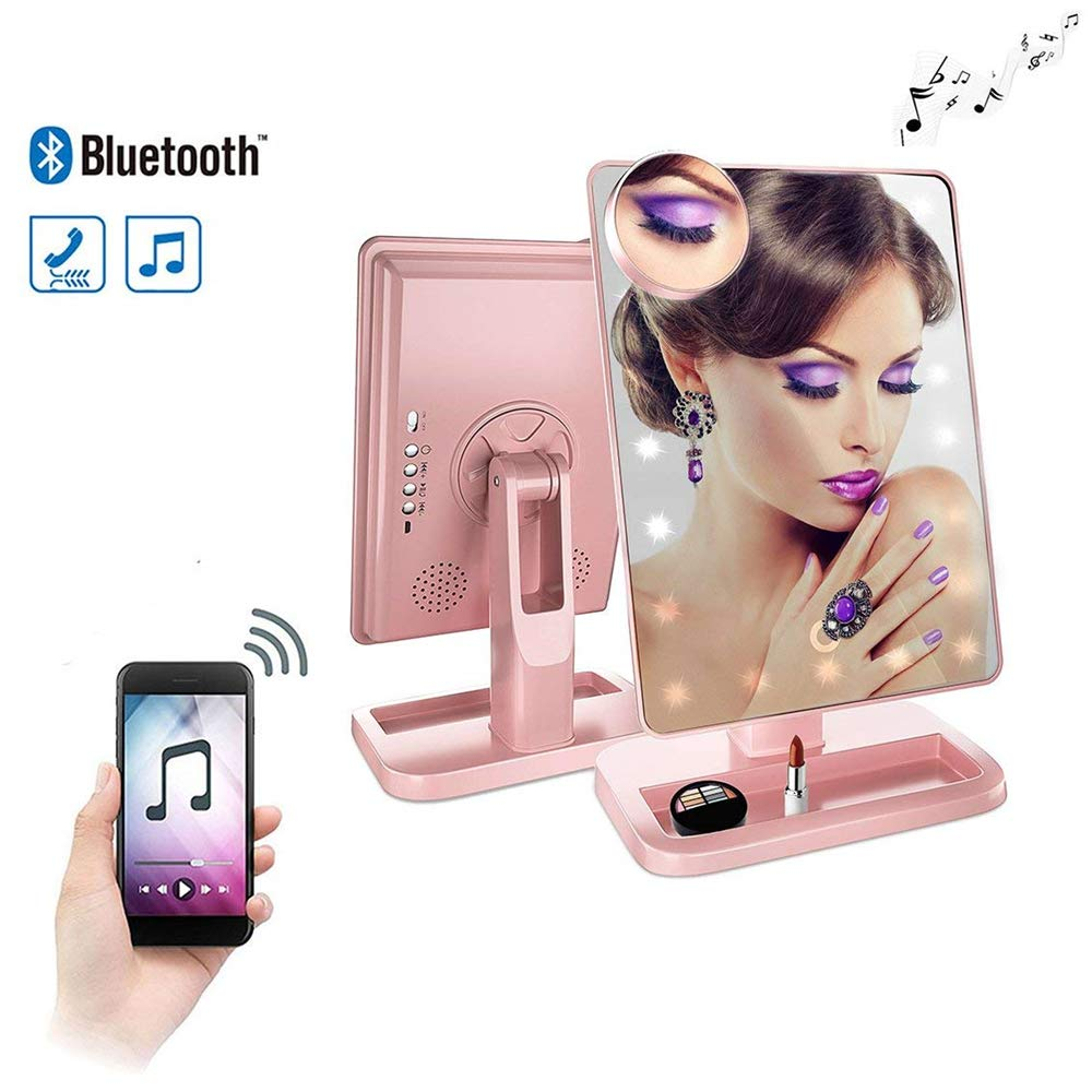 Bluetooth Vanity Mirror- USB Chargeable with LED lights by Addprime, Wireless Audio Speakers, 180 Rotation, Removable 10x Magnifier, Build-in Led Light Makeup Mirror Rose Gold