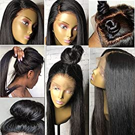 Human Hair Wigs 180% Density Full Lace Wigs for Women with Baby Hair Human Hair Wigs Brazilian Virgin Hair Human Hair Wig Glueless Full Lace Wig for high ponytail Silky Straight Human Hair Wigs 24″1B
