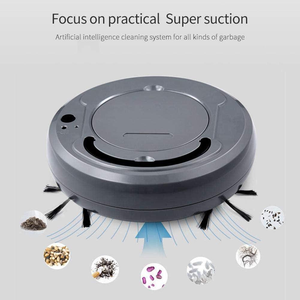 YMJJ Aspirateur Robotique, Chargement USB 3 en 1, Aspirateur Automatique, Lavage des Sols, Aspirateur Robot,Noir Black