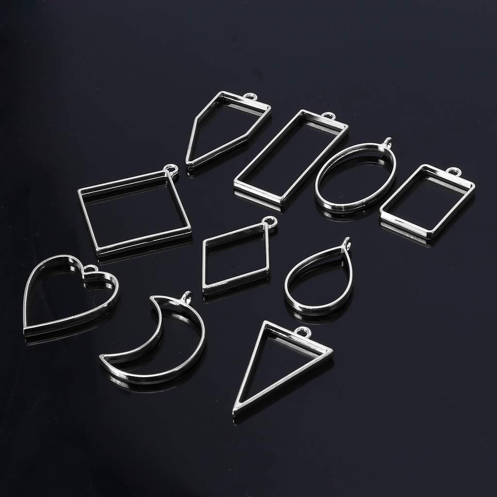 Bronze SimpleLife 10 pi/èces Assorties g/éom/étrique Creux Creux Fleur press/ée Pendentif r/ésine Fabrication de Bijoux