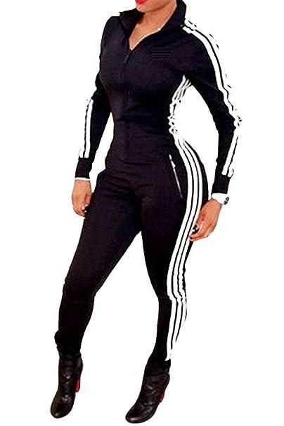 0b03ddc1d0b2 Amazon.com  Women Sport Long Sleeve Unitard Bodysuit Jumpsuit Zipper  Bodycon Romper Clubwear  Clothing