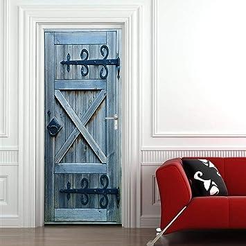 Puerta de madera a rayas de estilo europeo 77X200CM 3d Pegatinas de puerta Material de PVC Tres tallas Visión estéreo Pintura decorativa casera India moda Murales: Amazon.es: Bricolaje y herramientas