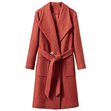 Woolen Coat CoatsWoman Coat of Winter Double Breasted Long Casaco Feminino Vintage Abrigo,Rust red