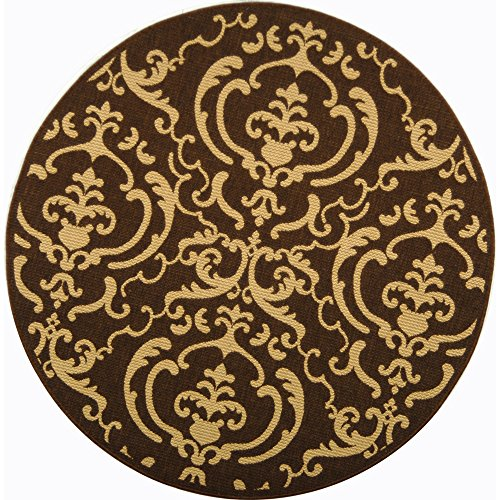 Brown Transitional Area Rug (Safavieh Courtyard Collection CY2663-3409 Chocolate and Natural Indoor/ Outdoor Round Area Rug (6'7