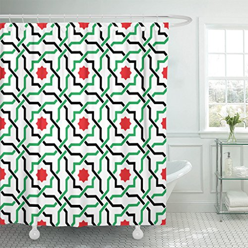 (Emvency Shower Curtain Green of Geometric Arabic Pattern in UAE Flag Colors Waterproof Polyester Fabric 72 x 78 Inches Set with Hooks)