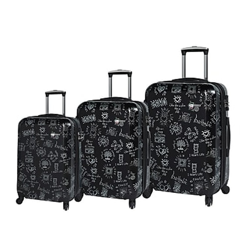 Mia Toro ITALY Love This Life-Medallions Hardside Spinner Luggage 3 Piece Set [20'', 24'' & 28'']