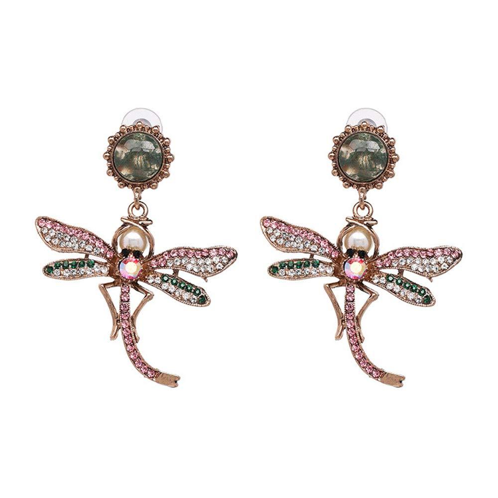 YINLIN Persinalized Dragonfly Rhinestore Crystal Dangle Drop Stud Earrings Animal Jewelry