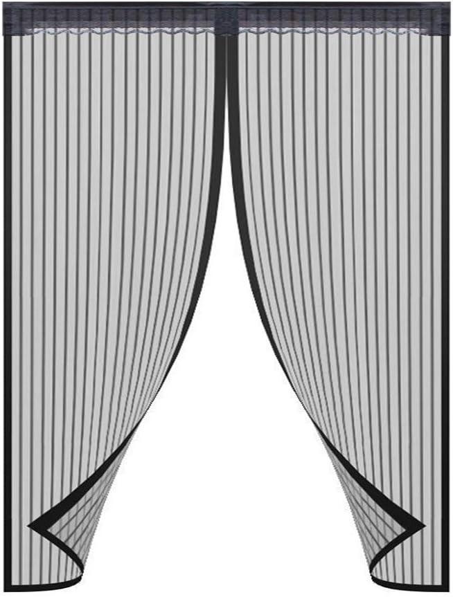 Puerta magnética de pantalla para puertas francesas o puertas de cristal deslizantes, manos libres, mosquitera instantánea de malla y cortina negra