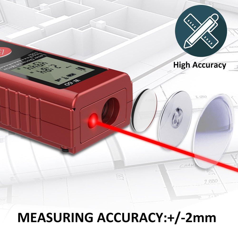 Laser Entfernungsmesser ULOCOOL 60m Distanzmesser Automatische Messung Distanz Fl/äche Volumen Pythagoreische Distanzmessger/ät Messbreich 0,05~60m///±2mm