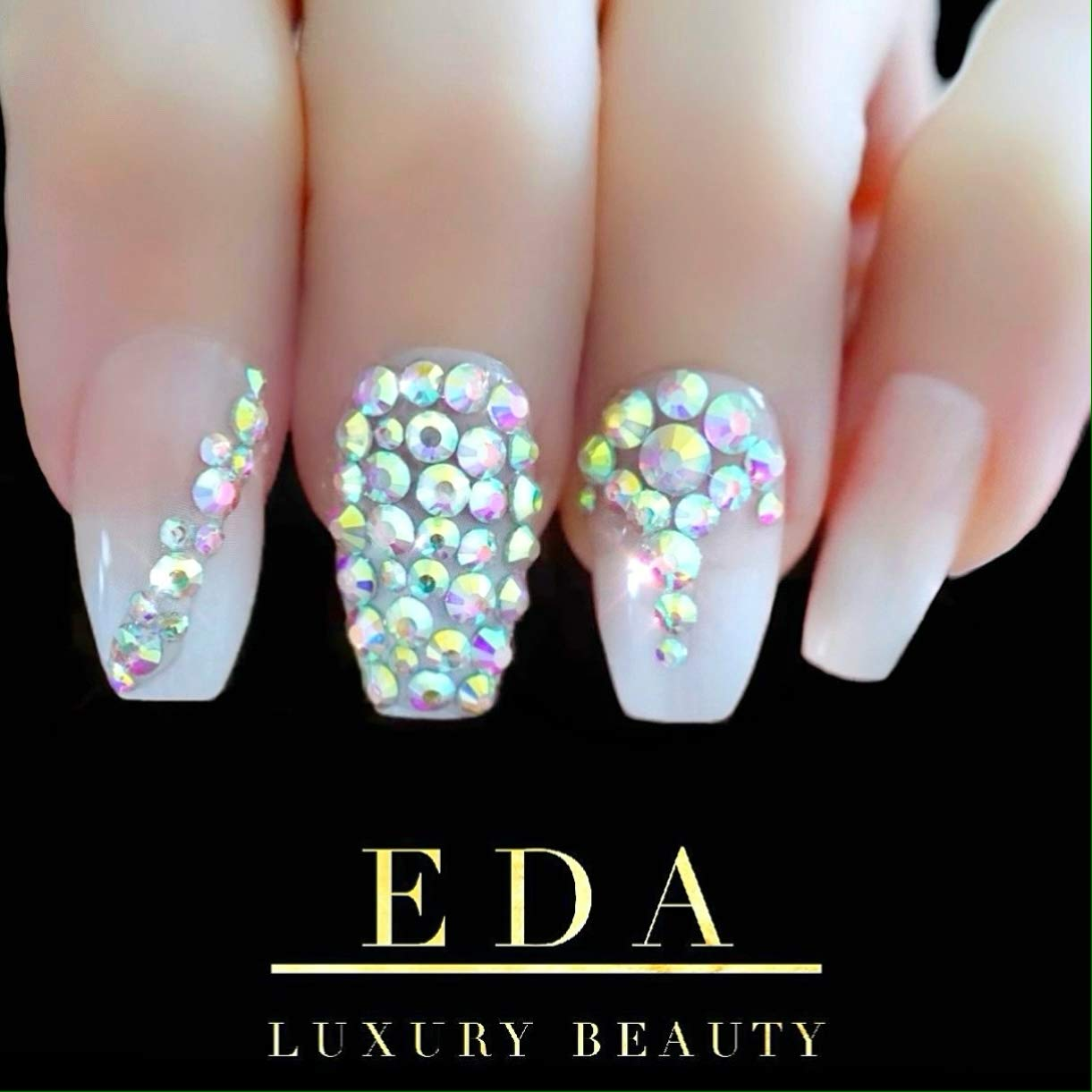 Amazon Com Eda Luxury Beauty Natural Nude Pink Ombre White French 3d Glamorous Jewel Design Gel Glitter Full Cover Press On Artificial Tips False Nails Extra Long Ballerina Coffin Square Super Fashion