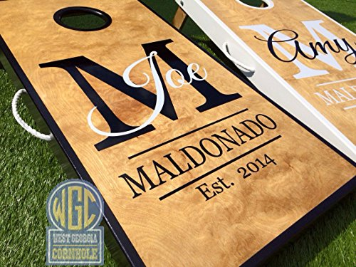Custom Monogram Cornhole Board Set by West Georgia Cornhole