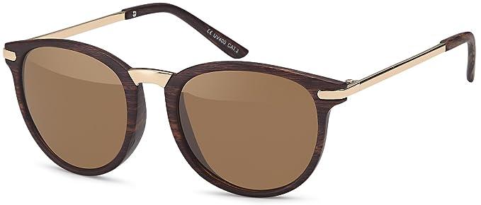 Feinzwirn Vintage Sonnenbrille im 60er Style mit trendigen bronzefarbenden Metallbügeln Panto - Retro Brille (braun-Gradient) TBqhKnoPRZ