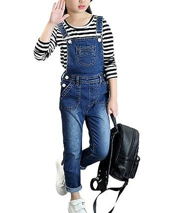 sélectionner pour le meilleur pas mal moderne et élégant à la mode Salopette Jean Skinny Enfant Fille Denim Pantalon Longue ...