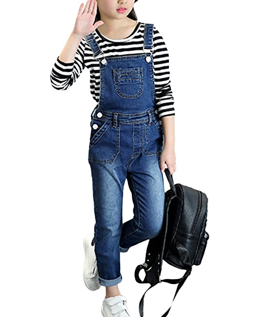 Monos Largos Niñas Peto Vaqueros Denim Pantalones Jeans Slim Fit