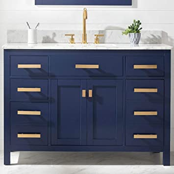 Luca Kitchen Bath Lc48pbw Tuscan 48 Single Bathroom Vanity Set In Midnight Blue With Carrara Marble Top And Sink Amazon Com