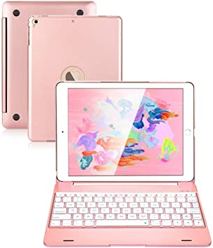 iPad Keyboard 9.7 para iPad 2018 (6ª generación) iPad 2017 (5ª generación) iPad Pro 9.7 iPad Air 2 y 1 teclado inalámbrico Auto Sleep/Wake iPad Case ...