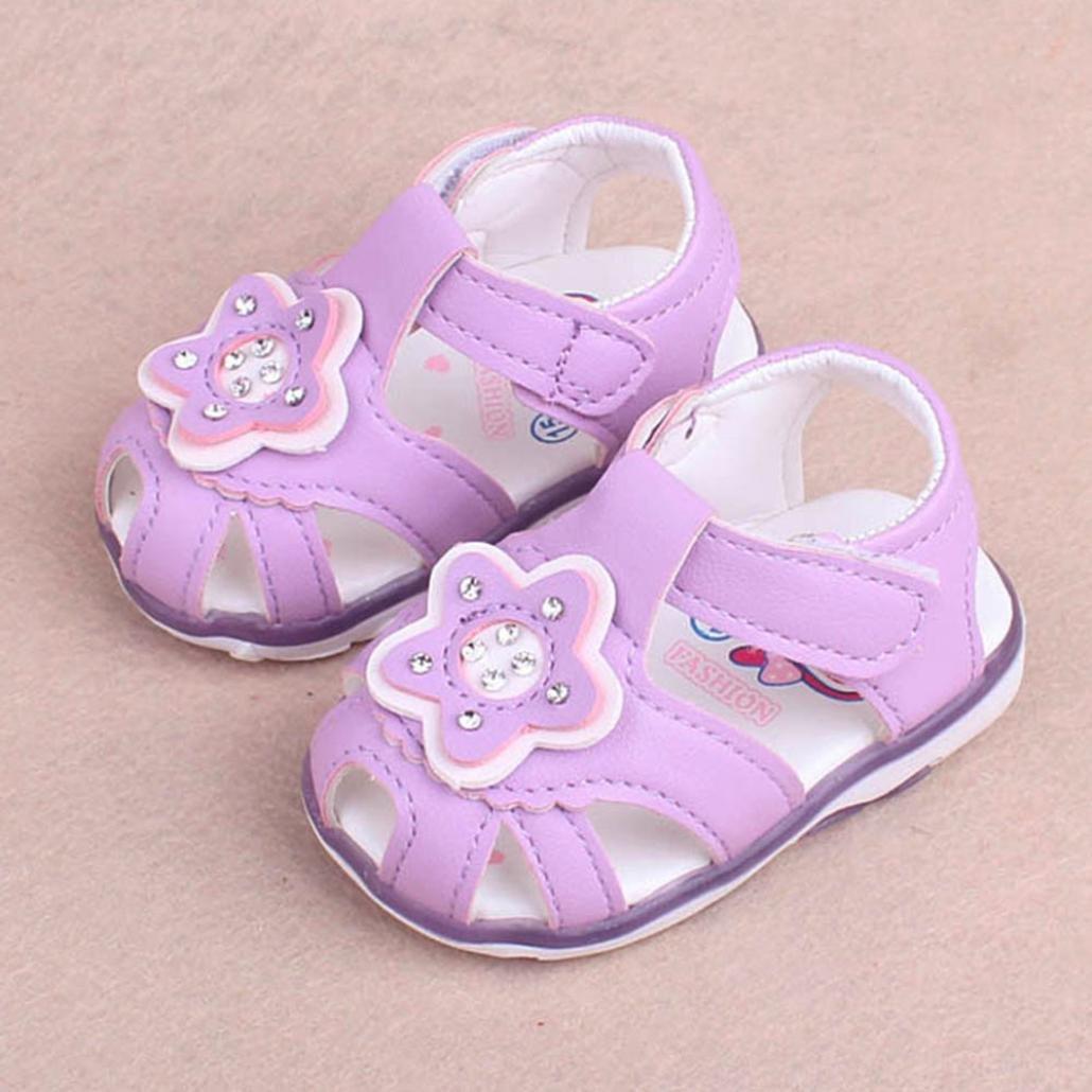Voberry/® B/éb/é Chaussures D/Ét/é Mode Jolie Princesse Filles B/éb/é Star Padded LED Luminous Plage Sandales Filles Slipper Chaussures B/éb/é Gar/çon Filles Soft Chaussures