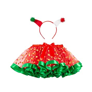 Amosfun Niños Navidad Cosplay Disfraz Dot Tutu Falda Navidad ...