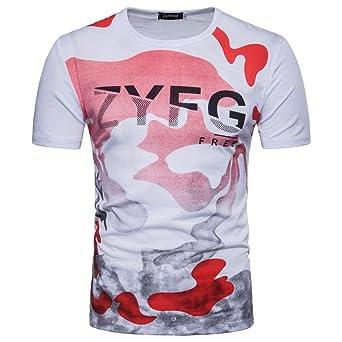 Tops Hombre Camisetas Sannysis Hombre Casual camuflaje Print Letra O Recorte Jersey – Camiseta Top Blusa, XL, rojo, 1: Amazon.es: Industria, empresas y ciencia