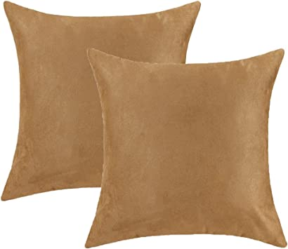 "4  X 18/"" TAN FAUX SUEDE//LEATHER CUSHION COVERS"