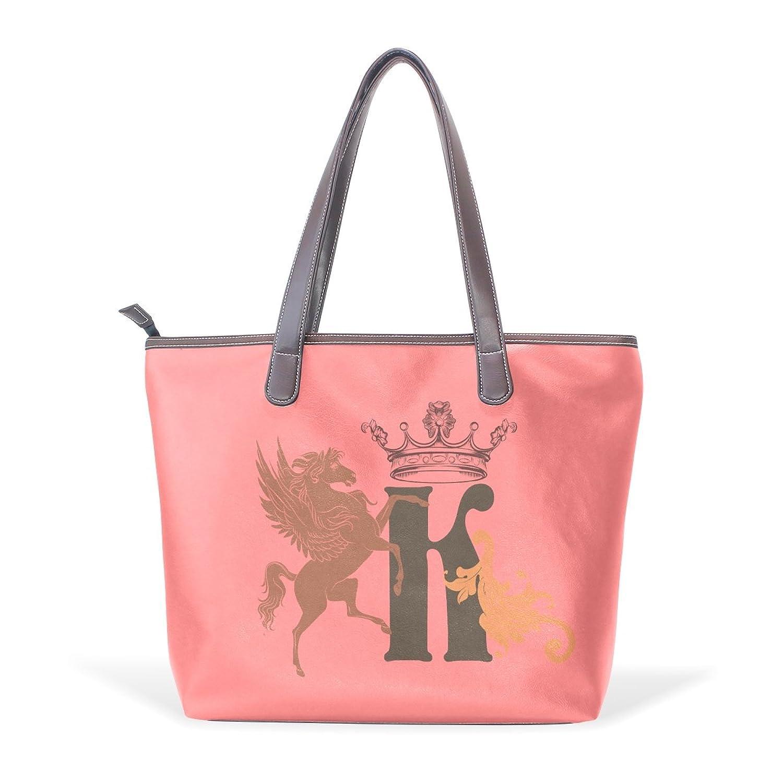 Womens Leather Tote Bag,Cartoon Letters H,Large Handbag