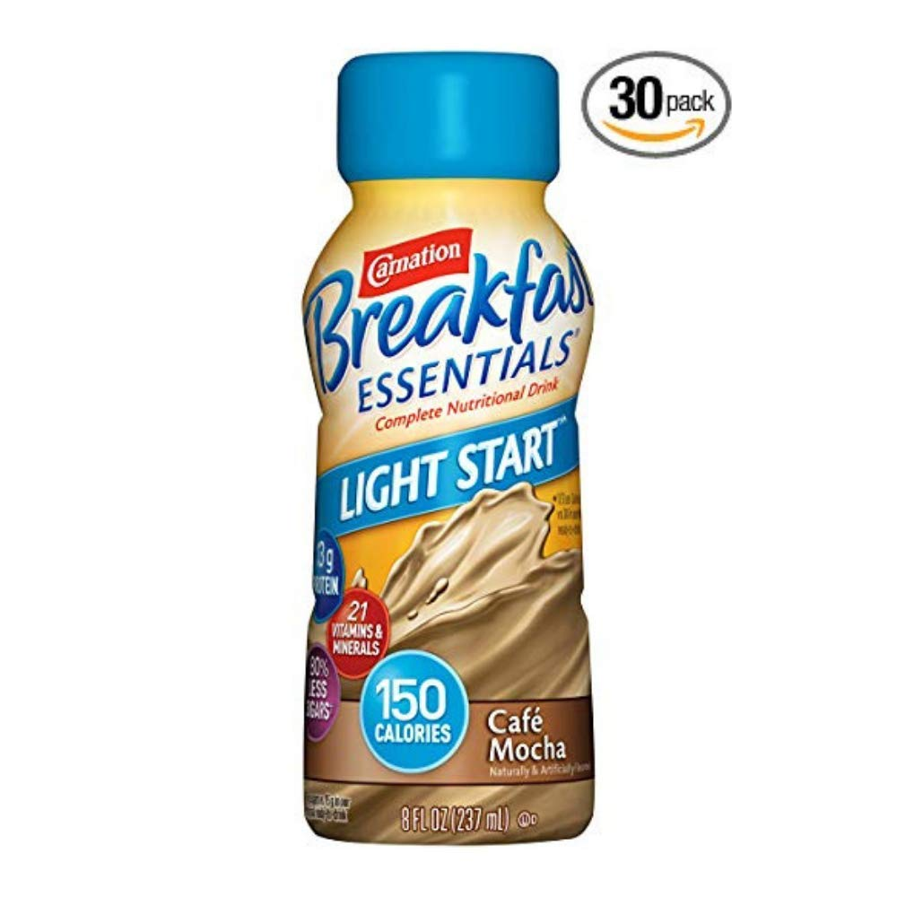 Carnation Breakfast Essentials Light Start Ready-to-Drink, Café Mocha, 8 fl oz Bottle - Pack of 30