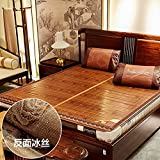Zzaini Carbonized bamboo Mattress, Summer sleeping mat Folding Non-slip Topper pad Double sided-A 180x200cm(71x79inch)