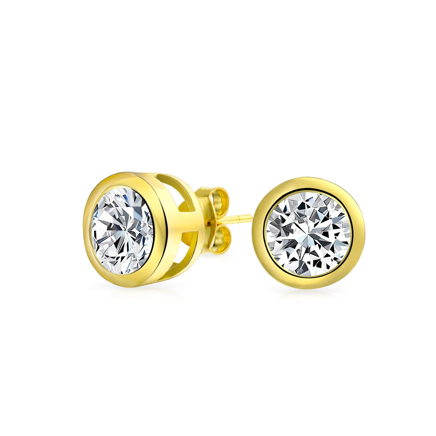 Bling Jewelry Gold Plated Bezel Round CZ Men Stud Earrings 925 Silver 7mm DT-LE-0026-G-7mm