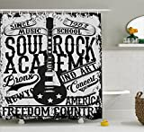 Retro Shower Curtain by Ambesonne, 'Soul Rock Academy' Theme Music School Electric Guitar Freedom Poster Like Image, Fabric Bathroom Decor Set with Hooks, 70 Inches, Beige and Black