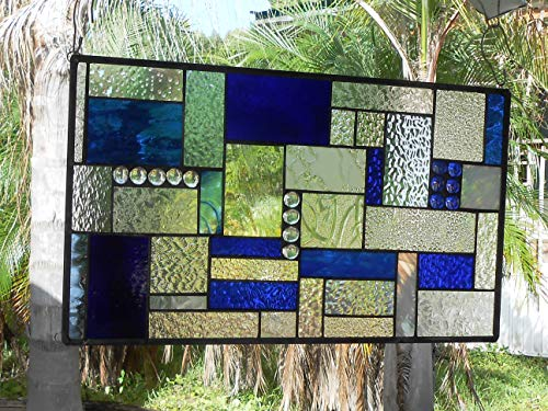 Stained Glass Transom Window, Shades of Blue Patchwork Mixed Media Stained Glass Panel, OOAK Geometric Vintage Window, Stained Glass Window Valance