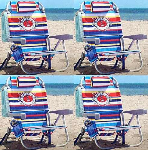 Tommy Bahama Backpack Chair - Insulated Cooler Pouch - 5 Positions (4 Tropical Stripes) (Insulated Cooler Chair)