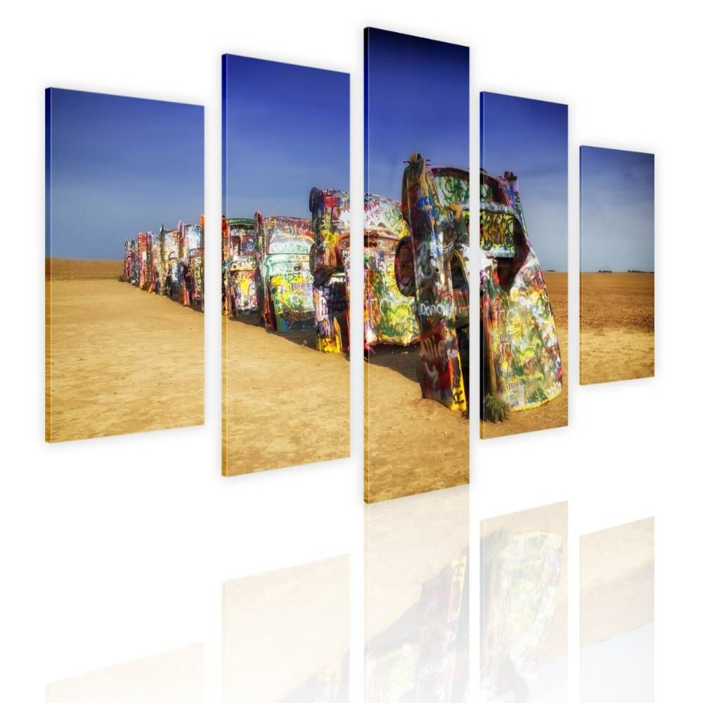 Alonline Art - Buried Cars by Split 5 Panels | framed stretched canvas on a ready to hang frame - 100% cotton - gallery wrapped | 39''x26'' - 99x66cm | Wall art home decor for office giclee artwork by Alonline Art