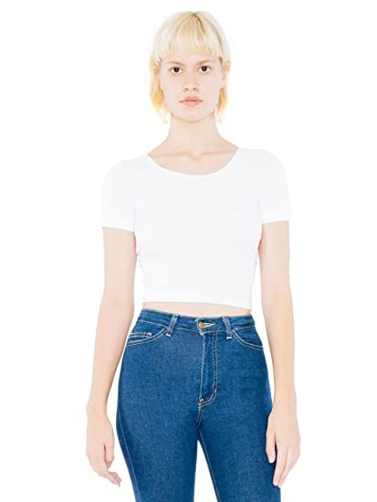 e48fd18de4d American Apparel womens Cotton Spandex Jersey Crop Tee(RSA8380)-WHITE-XS