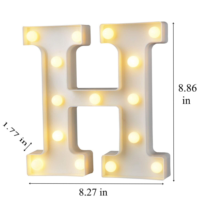 bemece LED Alphabet Letter Lights Letter M Decorative Warm Plastic Light up Letters