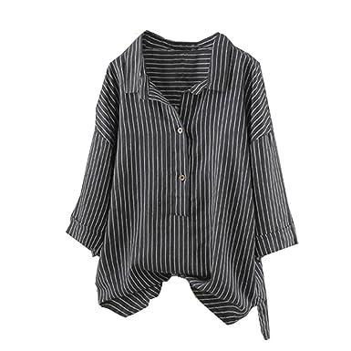 8dccc00bd09 Zegeey Women Summer Autumn Fashion Unique Women Casual Vintage Loose Button  Up Pullover Striped Top T
