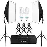 Andoer Softbox Kit de Iluminación, Kit de Estudio Fotográfico Profesional Light 5500K con 2 * 135 W Photolamps, 2…