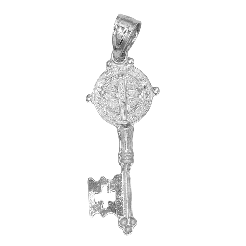Ice on Fire Jewelry 10k Solid Gold Saint Benedict of Nursia Key Pendant