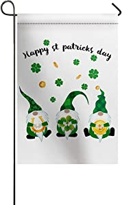 TAOGAN Green St Patrick's Day Double-Sided Garden Flag House Banner Festive Decorative Irish Gnome Elf Yard Flag for Outdoor Indoor Weather Resistant & Double Stitched Shamrock Gold Coin 12 x 18 Inch