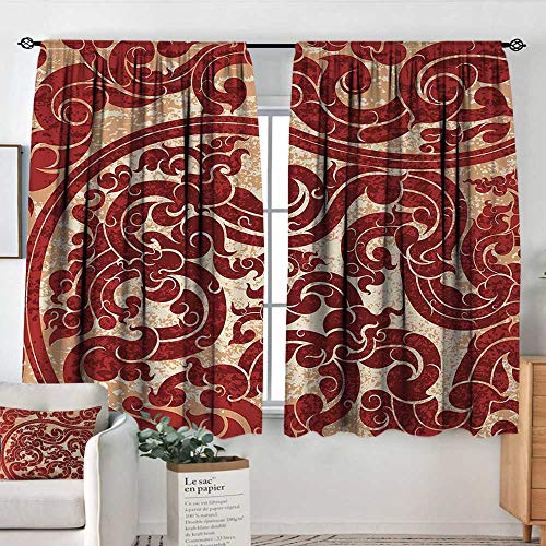 Linden Window Treatments - Curtains for Living Room Antique,Thai Culture Vector Abstract Background Flower Pattern Wallpaper Design Artwork Print,Ruby,Darkening and Thermal Insulating Draperies 42