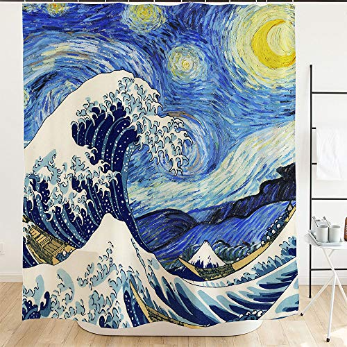 Ofat Home Van Gogh Starry Night and Japanese The Great Wave Painting Artistic Blue Shower Curtain with Hooks 72''x72'',Shower Curtain for Bathroom Home ()