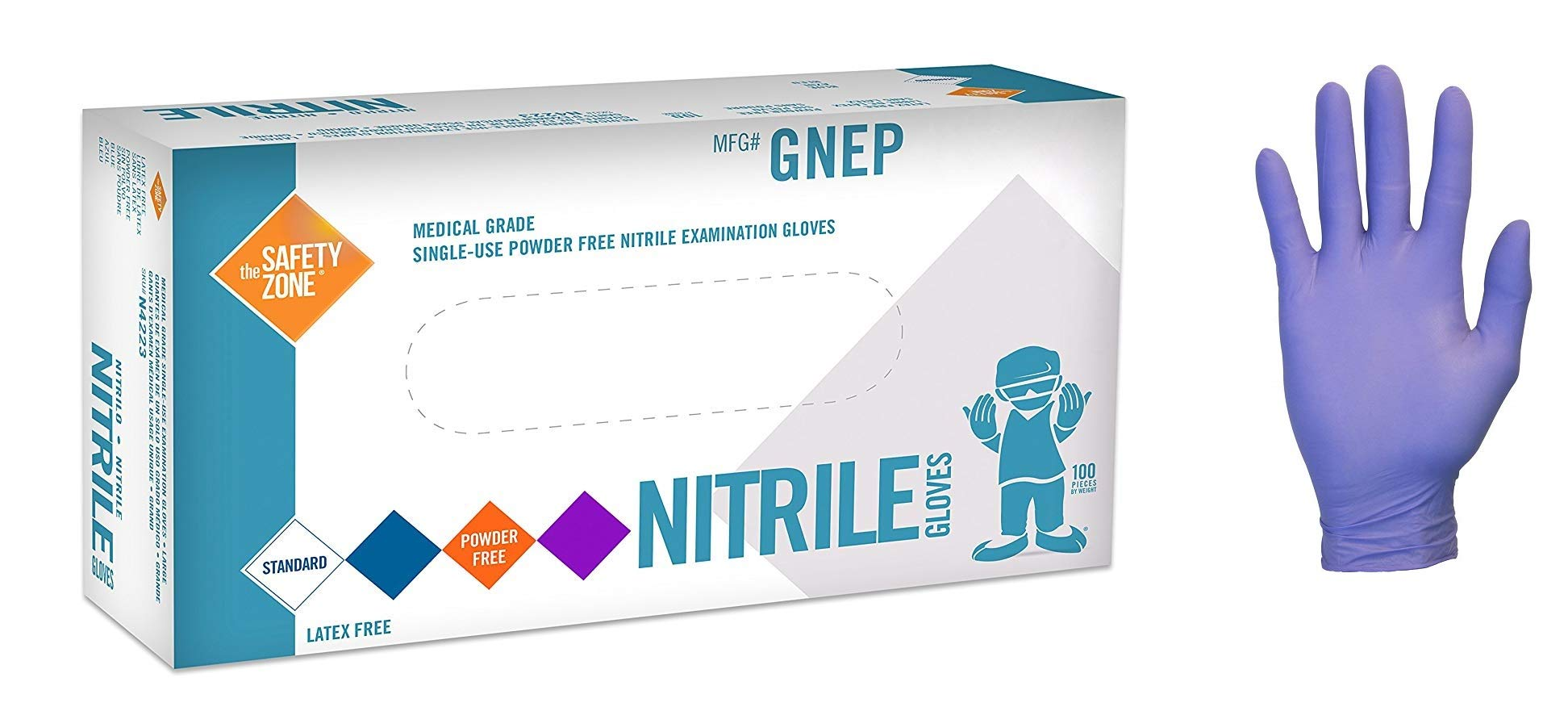 The Safety Zone GNEP - Nitrile Exam Gloves - Medical Grade, Powder Free, Latex Rubber Free, Disposable, Non Sterile, Food Safe, Textured, Indigo Color, Size Large, 100 Gloves by The Safety Zone